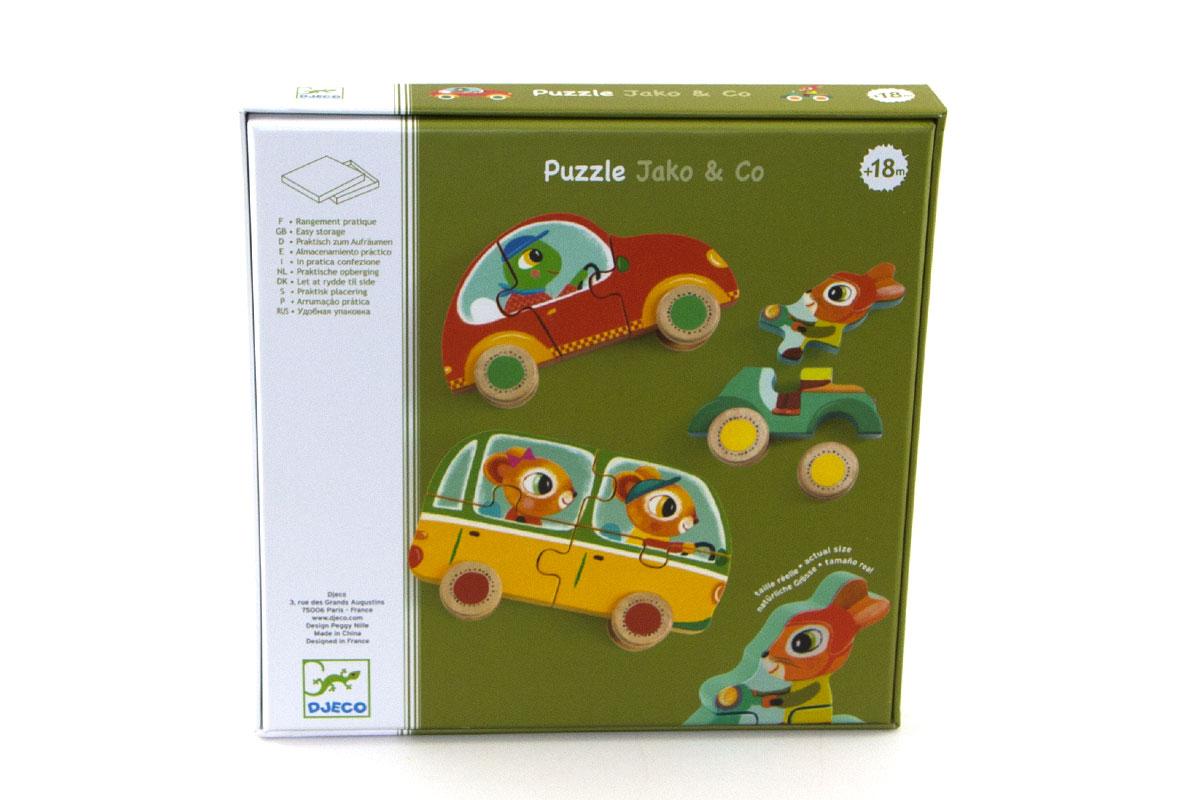 Un puzzle coloré que les petits adoreront ! Le bus jaune des deux souris se compose de 4 pièces, la voiture rouge de 3 pièces et enfin le scooter du lapin de 2 petites pièces colorées.
